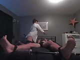 Girl sucks and tickles boyfriends tied toes, till he orgasms